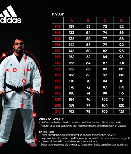 kimono-karate-revoflex-adidas-k190sk wymiary